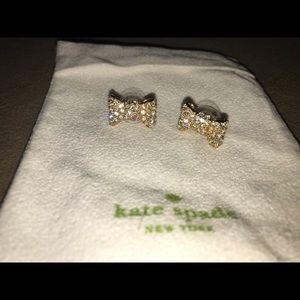 Kate Spade all wrapped up pave bow stud earrings